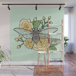 Cicada with Roses - Mint Wall Mural