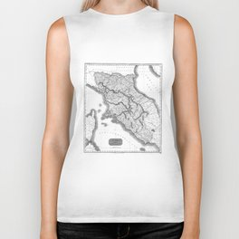 Vintage Map of Tuscany Italy (1814) BW Biker Tank