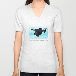 A Prayer for the Orca ~ Watercolor Painting by Amber Marine, (Copyright 2013) Unisex V-Neck