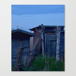 Down by the Harbour 1: Sheds in the Reeds Canvas Print