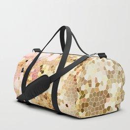 Flower Mosaic Millennial Pink and Golden Yellow Abstract Art | Honey Comb | Geometric Duffle Bag