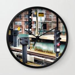 Railway station and semaphore Wall Clock