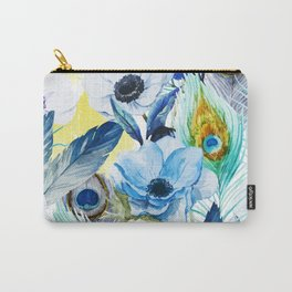 Watercolor Peacock Feather Pattern Carry-All Pouch