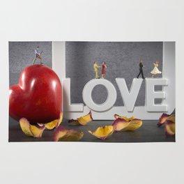 little figures on love text dancing Rug