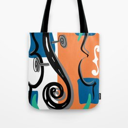 Scroll Pride - violin viola cello love - orange and teal Tote Bag