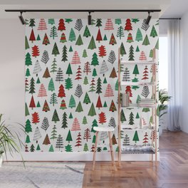 Christmas tree forest minimal scandi patterned holiday forest winter Wall Mural