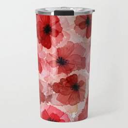 Pressed Poppy Blossom Pattern Travel Mug
