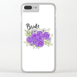 Bride Wedding Bridal Purple Violet Lavender Roses Watercolor Clear iPhone Case