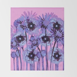 blue flowers on pink background Throw Blanket