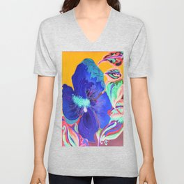 Birthday Acrylic Blue Orange Hibiscus Flower Painting with Red and Green Leaves Unisex V-Neck