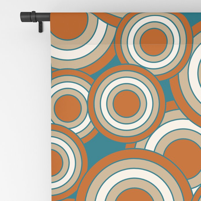 Overlapping Circles In Burnt Orange, Teal And Tan Blackout