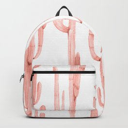 Pretty Coral Pink Cactus Pattern Backpack