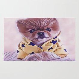 Pomeranian Wearing Pajamas Rug