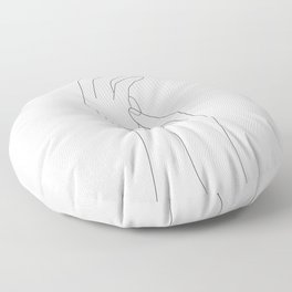 Minimal Line Art Feminine Hands Floor Pillow