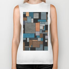 Random Concrete Pattern - Blue, Grey, Brown Biker Tank