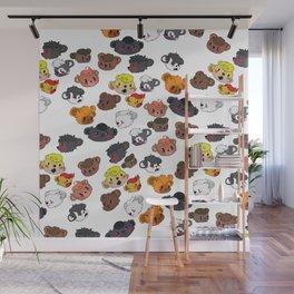Many Beautiful Bear Faces Wall Mural