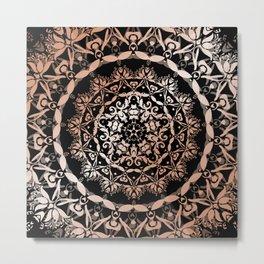 Rose Gold Black Damask Mandala Metal Print