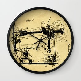 Sewing Machines Support Patent Drawing From 1885 Wall Clock