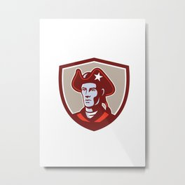 American Patriot Minuteman Head Crest Retro Metal Print