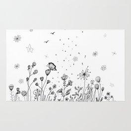 Floral Garden Doodle Art Rug