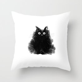 Duster - Black Cat Drawing Throw Pillow