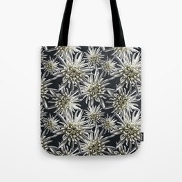 Mum Floral Pattern - Mum's the word - Black and White Floral Design - White Mum Flowers - I Love my Tote Bag