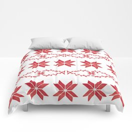 Scandinavian inspired print with red mini stars Comforters