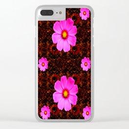FUCHSIA PINK FLOWERS &  DARK ART Clear iPhone Case