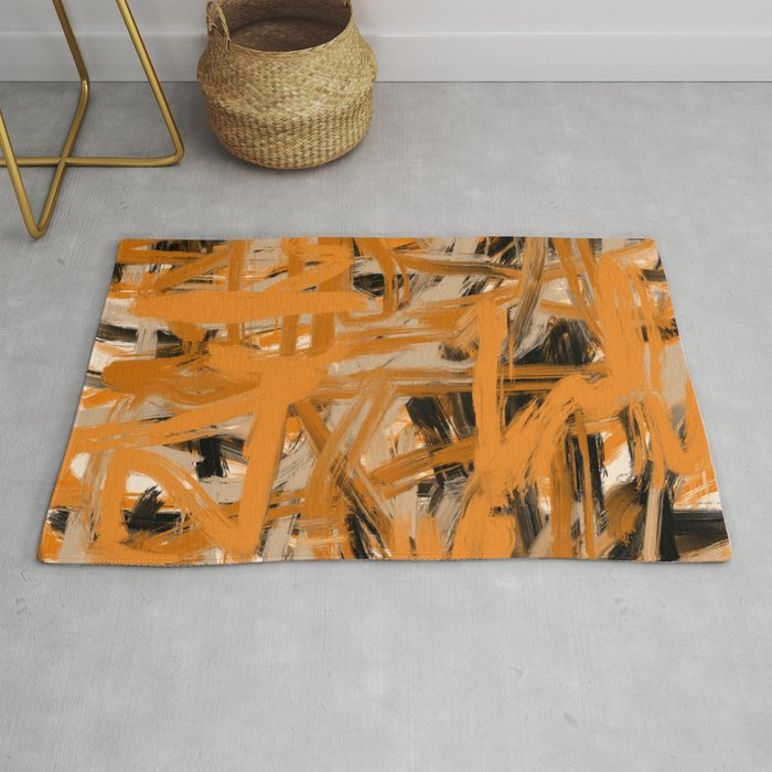 Orange & Taupe Abstract Rug