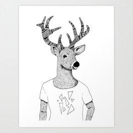 Deer Triangle Tee Art Print