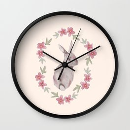 Floral Rabbit Wall Clock