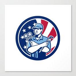 American Air-Con Serviceman USA Flag Icon Canvas Print