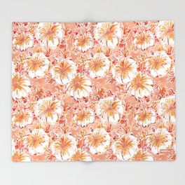 KOMBUCHA-CHA Orange Tropical Hibiscus Floral Throw Blanket
