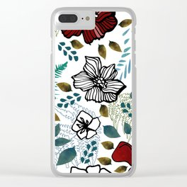 Wild Red Flowers Clear iPhone Case
