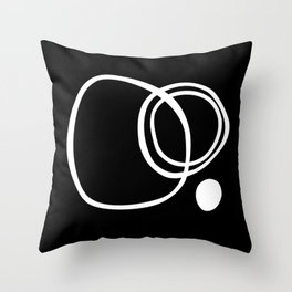 Black and White Circles Abstract Modern Throw Pillow