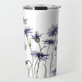 Blue Cornflowers, Illustration Travel Mug
