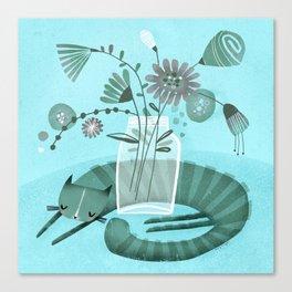 MASON JAR CAT Canvas Print