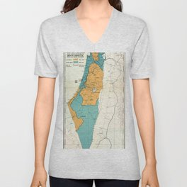 Map of Palestine Plan of Partition with Economic Union Unisex V-Neck