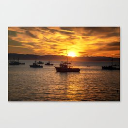 The Best Part of Waking Up boats in Port San Luis at Sunrise Canvas Print