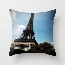 Dark Eiffel Tower Throw Pillow