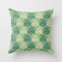 Mid Century Modern Retro Flower Pattern Sage and Teal 931 Throw Pillow