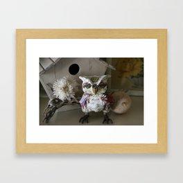 Saffron the Handmade Paper Mache Owl Framed Art Print