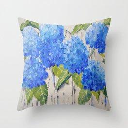 Picket Fence Hydrangeas Throw Pillow