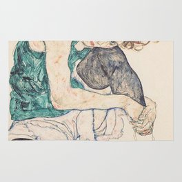 SEATED WOMAN WITH BENT KNEE - EGON SCHIELE Rug