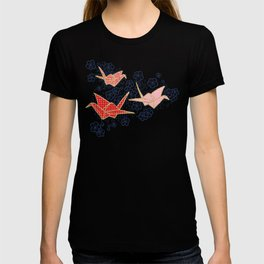 Red origami cranes on navy blue T-shirt
