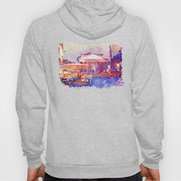 The Pantheon Rome Watercolor Streetscape Hoody
