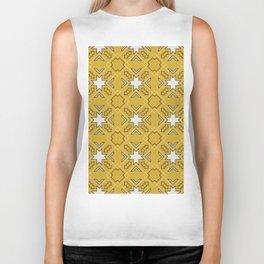 Ethnic pattern in yellow Biker Tank
