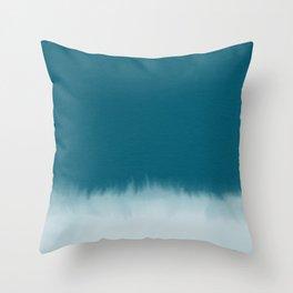 dark cyan watercolor Throw Pillow