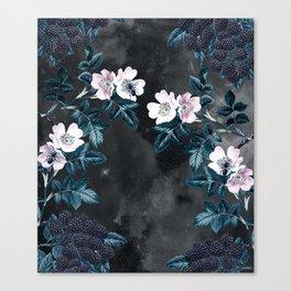 Night Garden Bees Wild Blackberry Canvas Print