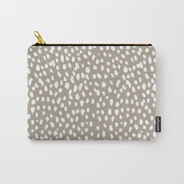 White on Dark Taupe spots Carry-All Pouch